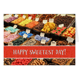 Cartão Dia o mais doce feliz doces coloridos Assorted