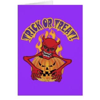 Cartão Diabo Skul do Dia das Bruxas