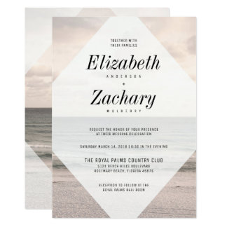 Cartão Diamante moderno do casamento de praia