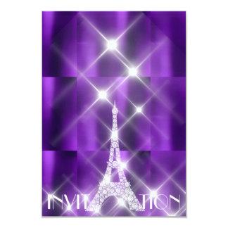 Cartão Diamante Sparkly do roxo das estrelas de Paris da