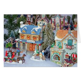 Cartão diminuto da vila do Natal