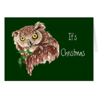Cartão Divertimento & humor sarcástico da coruja do Natal