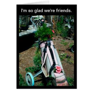 Cartão do amigo do saco de golfe das flores