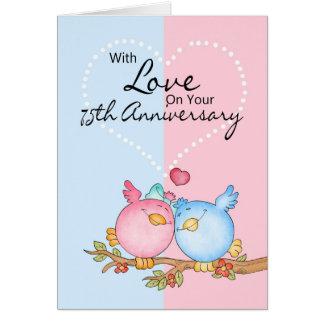 cartão do aniversário - 75th pássaros do amor do
