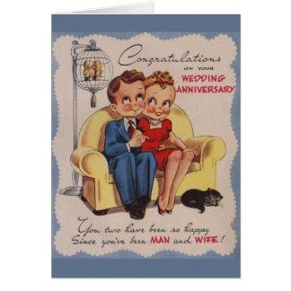 Cartão do aniversário de casamento vintage