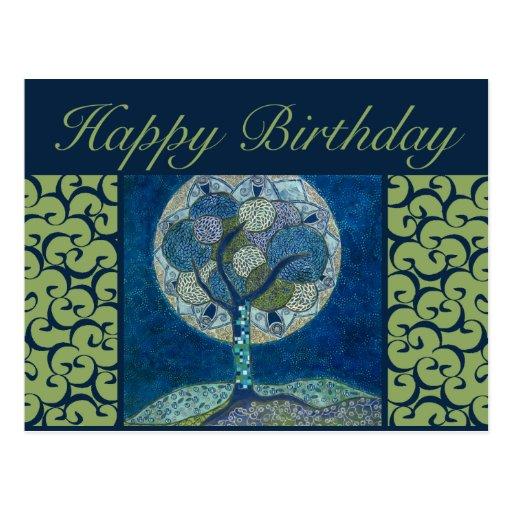 cartão do aniversário - lua na pintura da flor cartao postal