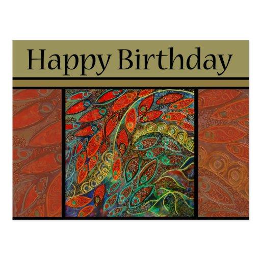 cartão do aniversário - pintura da porta giratória cartao postal