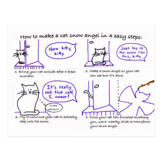 Cartão do anjo da neve do gato cartao postal