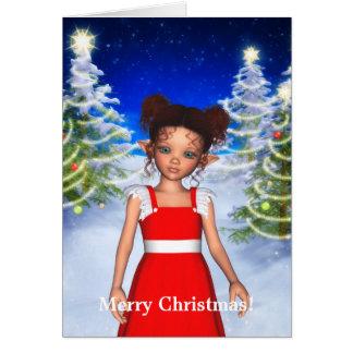 Cartão do anjo do duende do fulgor do Natal