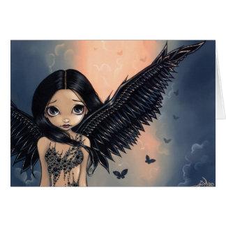 """""""Cartão do anjo voado preto"""" Cartão Comemorativo"""