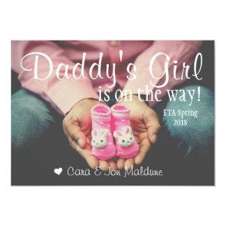 Cartão do anúncio do bebê do bebé do rosa da convite 12.7 x 17.78cm