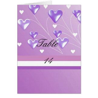 Cartão do assento da mesa dos corações roxos