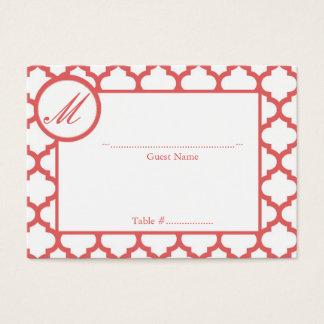 Cartão do assento da recepção do monograma de