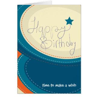 Cartão do azul do abstrato do feliz aniversario