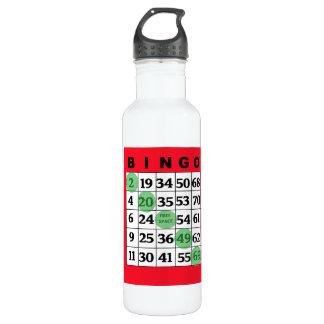 Cartão do BINGO & garrafa de água da boa sorte de