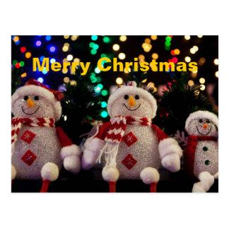 Cartão do boneco de neve do Feliz Natal Cartões Postais