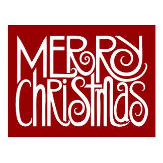 Cartão do branco do Feliz Natal Cartão Postal