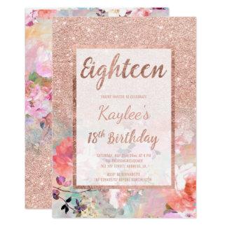 Cartão Do brilho cor-de-rosa do ouro do falso aniversário