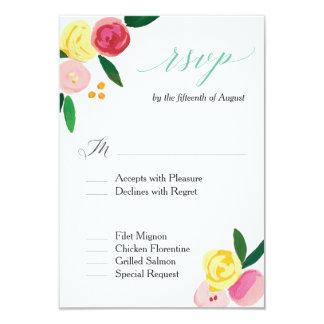 """Cartão Do """"cartão do casamento RSVP do jardim de rosas"""