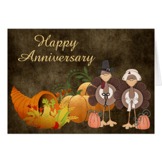 Cartão Do casal bonito de Turquia do outono do ouro