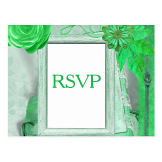Cartão do casamento RSVP no verde