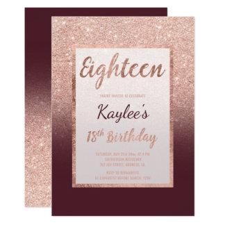 Cartão Do chique cor-de-rosa de Borgonha do brilho do