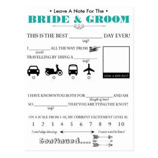 Cartão do conselho do convidado do casamento