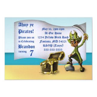 """Cartão Do """"convite"""" 7"""" do aniversário do pirata menino x"""
