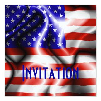 Cartão do convite da bandeira dos EUA da bandeira