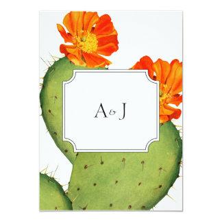 Cartão do convite do casamento do cacto