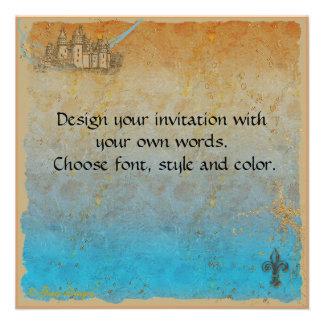 Cartão do convite do castelo do conto de fadas