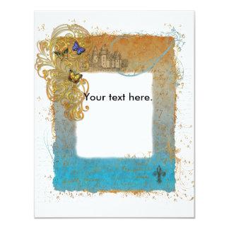 Cartão do convite do castelo do livro de histórias