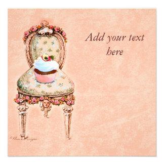 Cartão do convite do estilo do vintage do cupcake