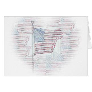 Cartão do coração da bandeira americana
