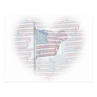 Cartão do coração da bandeira americana cartoes postais