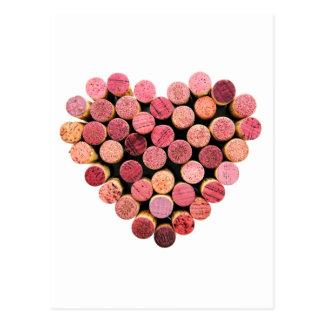 Cartão do coração da cortiça do vinho