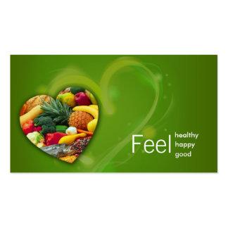 Cartão do coração da fruta do nutricionista do ver cartão de visita