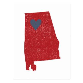 Cartão do coração de Alabama (carmesim) - Cartão Postal