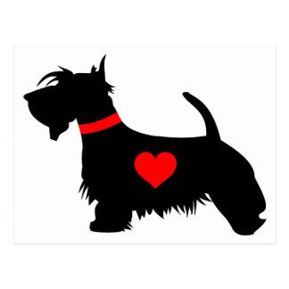 Cartão do coração do cão do Scottie Cartão Postal