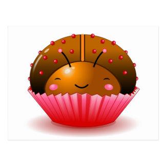 Cartão do cupcake do joaninha do chocolate cartoes postais