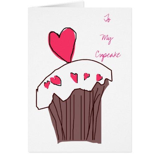 Cartão do cupcake do querido