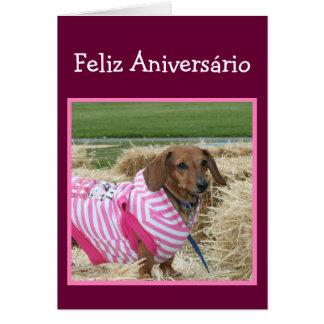 Cartão do Dachshund do aniversário de Feliz