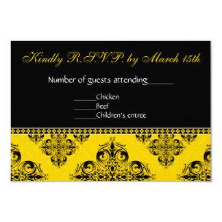 Cartão do damasco RSVP no amarelo Convite 8.89 X 12.7cm