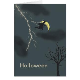Cartão do Dia das Bruxas com bruxa, relâmpago &