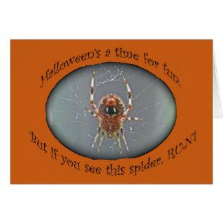 Cartão do Dia das Bruxas da aranha do tecelão da