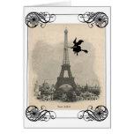 Cartão do Dia das Bruxas da bruxa de Paris