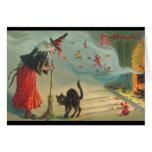 Cartão do Dia das Bruxas da bruxa & do gato do Vic