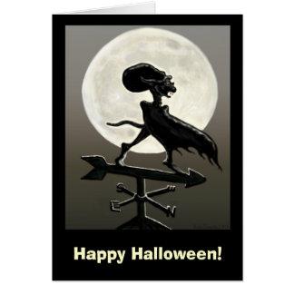 Cartão do Dia das Bruxas da lua do vampiro