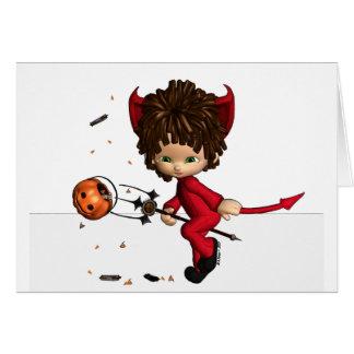 Cartão do Dia das Bruxas do diabo de Lil