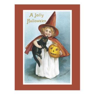 Cartão do Dia das Bruxas do vintage Cartao Postal
